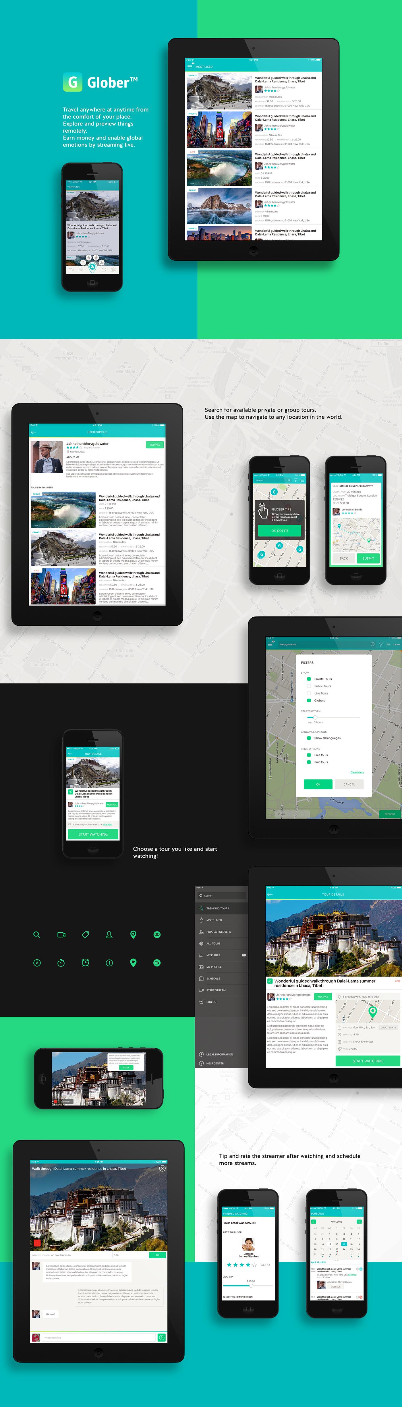 galitsky galitskydesign application app Travelling video Streaming design user expirience UI/UX