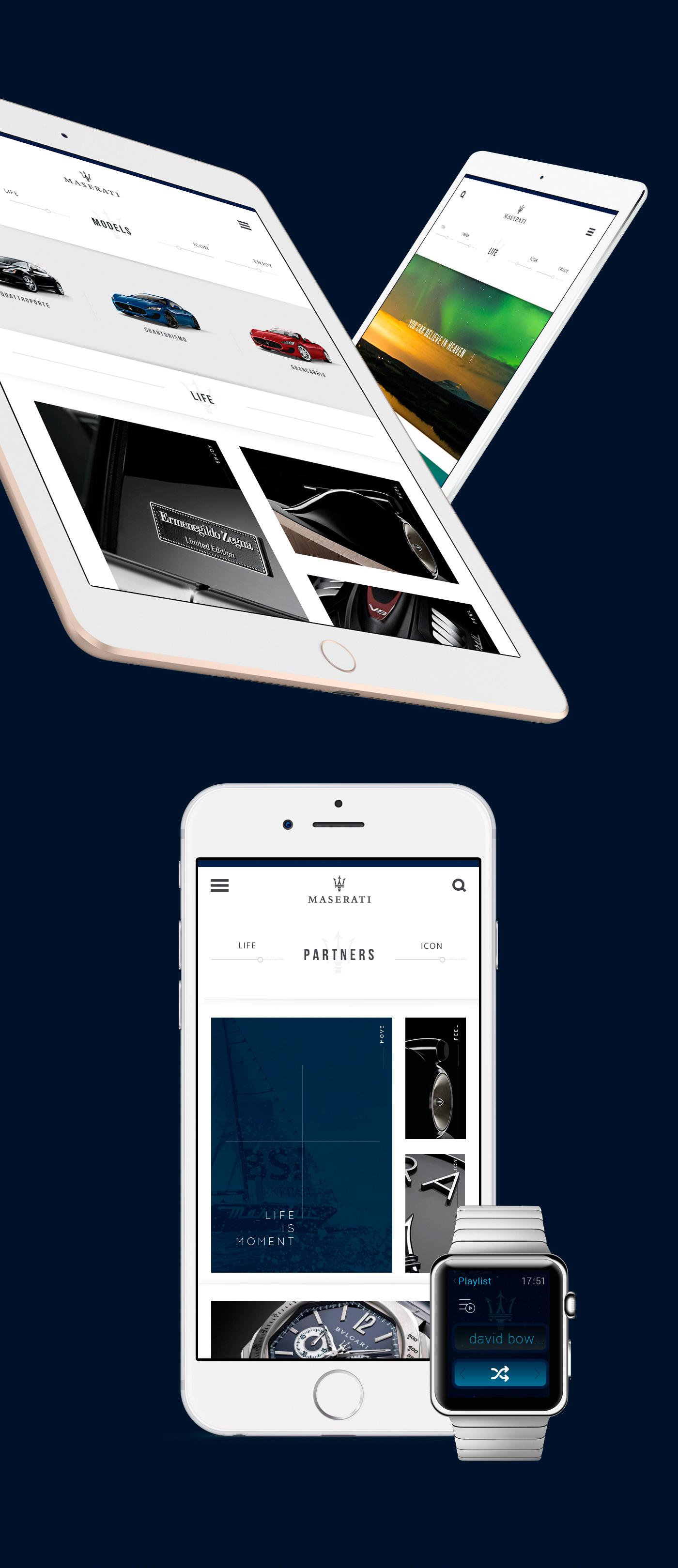 ux Website maserati elegant minimal Responsive car luxury mobile clean html5 css beauty photo grid