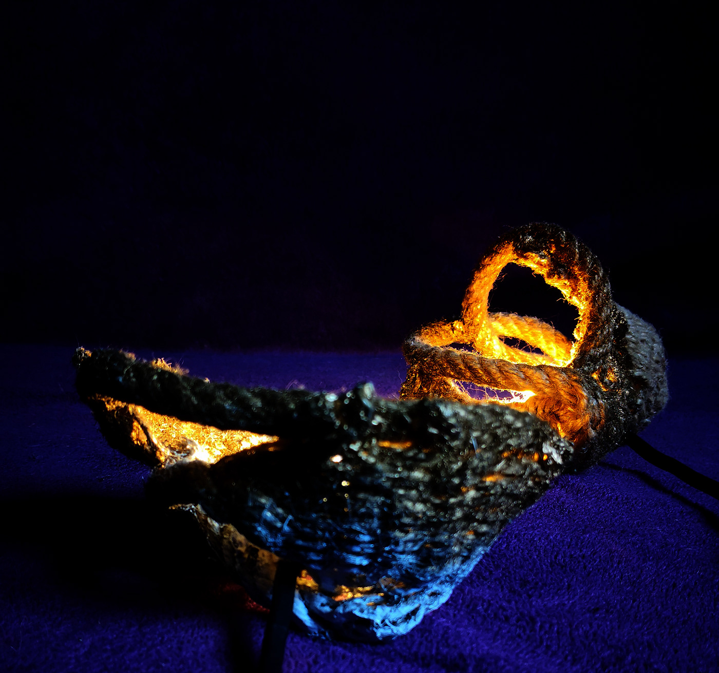 rope Lamp textile art Metamorphosis design product night light ambiental golden blossom