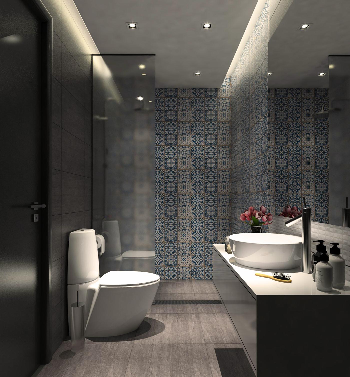 Small dark bathroom vray training on behance for Bagno piccolo design