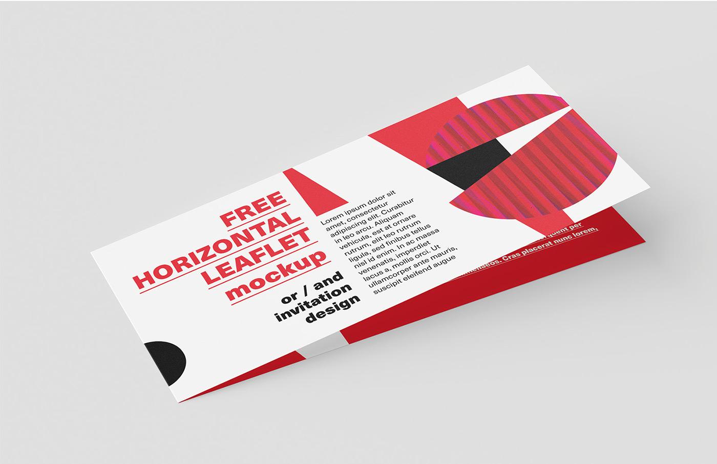 Free horizontal DL leaflet mockup on Behance