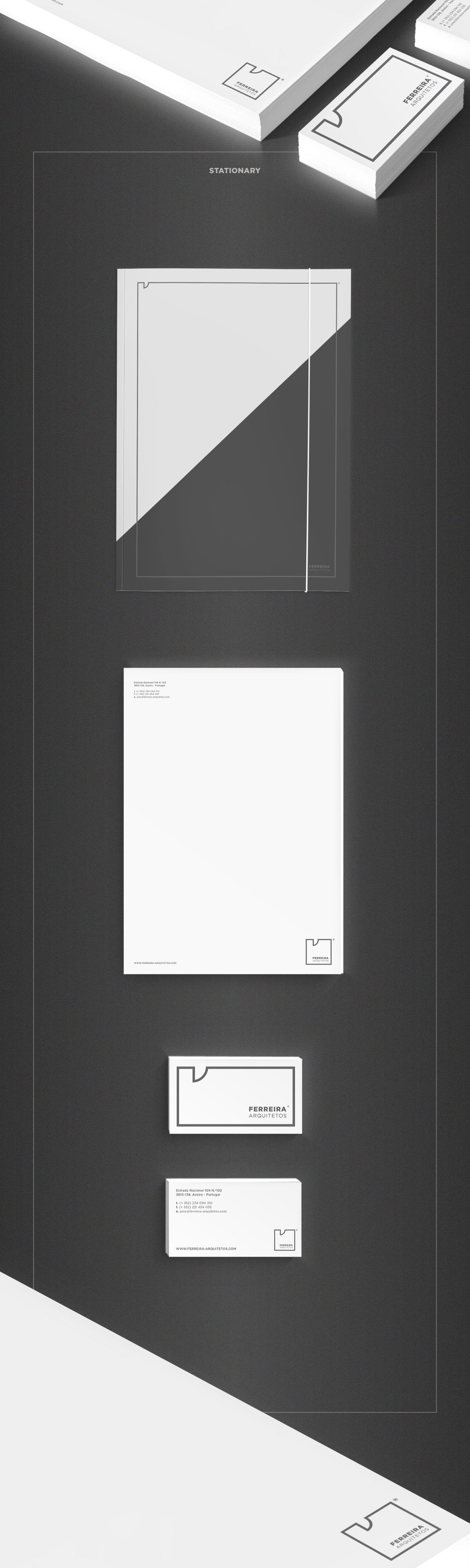arquitetos ferreira black White grey cement blueprints architects door box