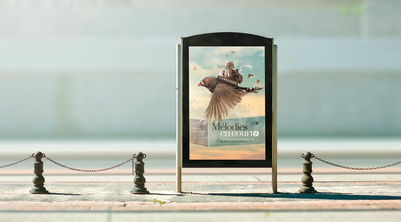 affiche,festival,melodie,court-métrage,oiseaux,voyage,Flying,bird,child,Pilot