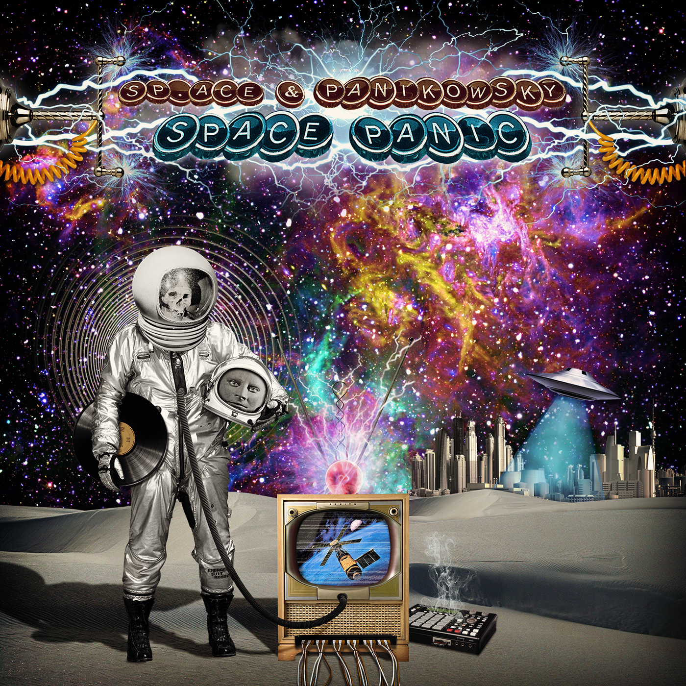 Space  skull fantomas astronaut UFO cover mpc tv vintage psychedelic hip-hop vynil digital art cd