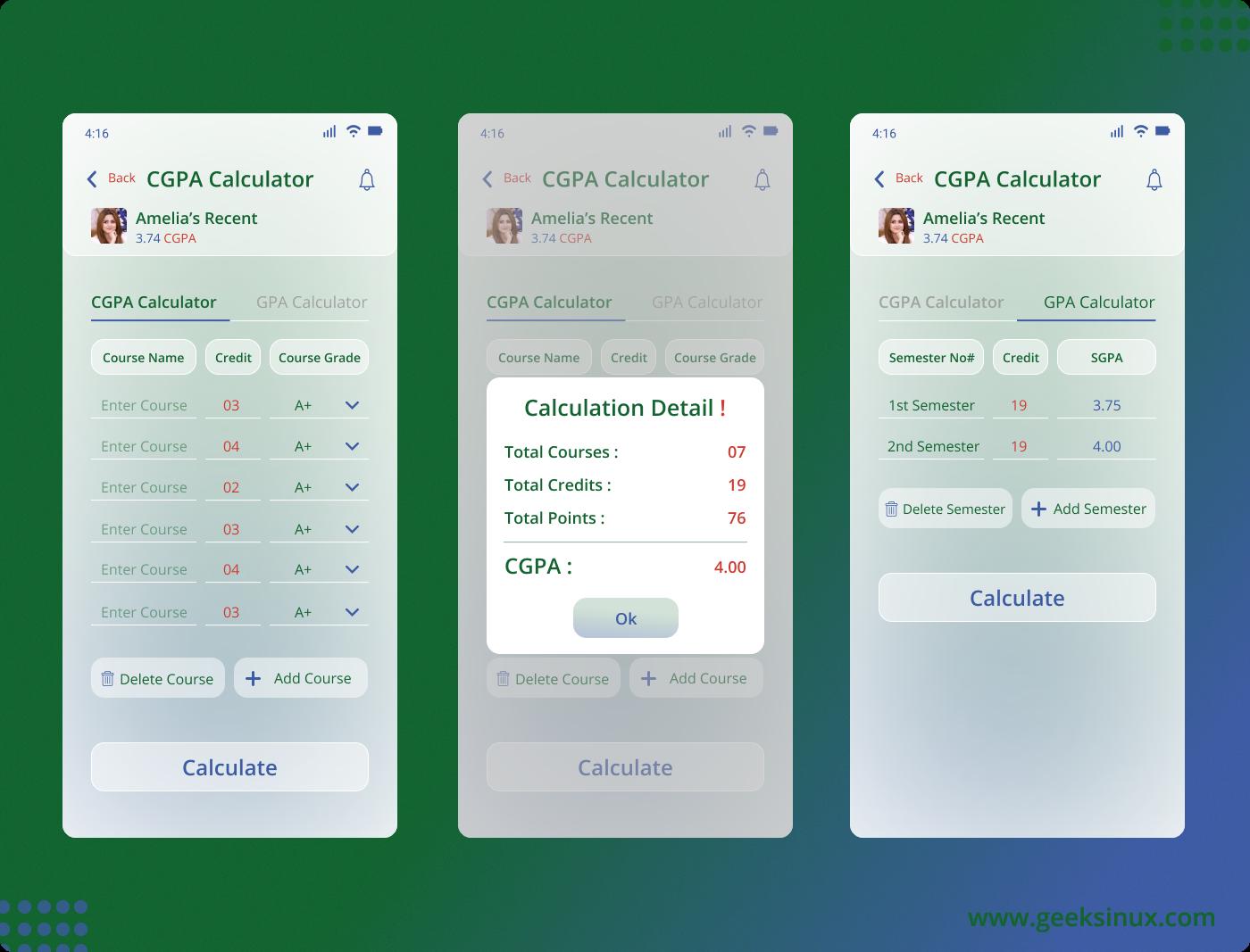 CGPA App CGPA Calculation App GPA Calculation App School management App SGPA Calculation App ui kit uiux UIUX design university app web designing