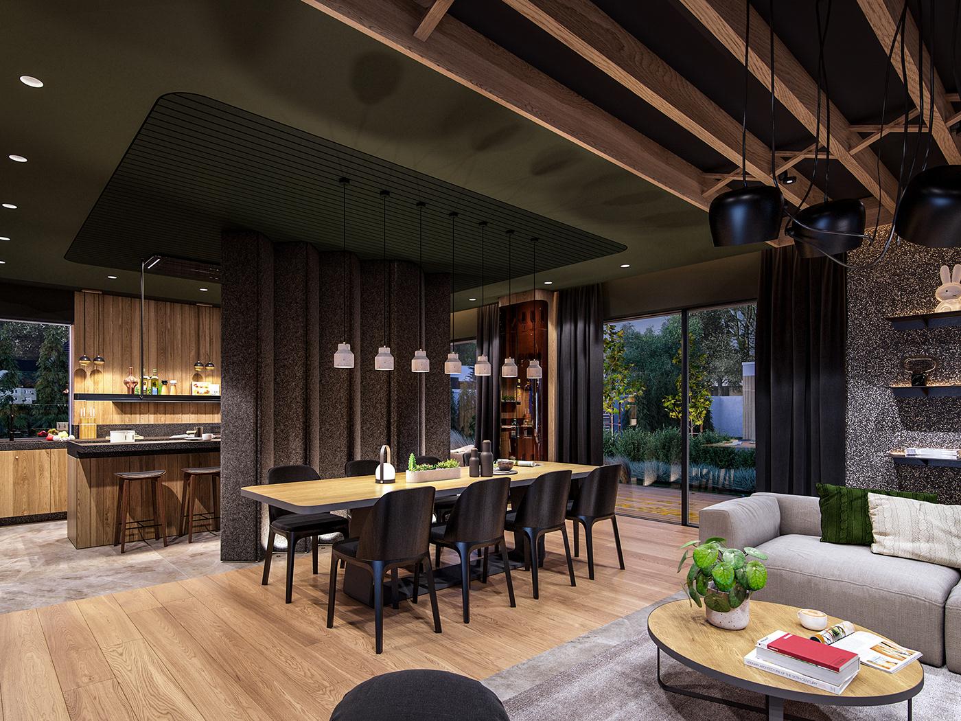 Interior cosy design wood modern minimal luxury stone dark child