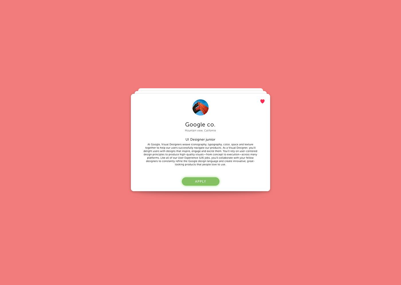 job listing job UI ux Interface Web design Webdesign daily ui google