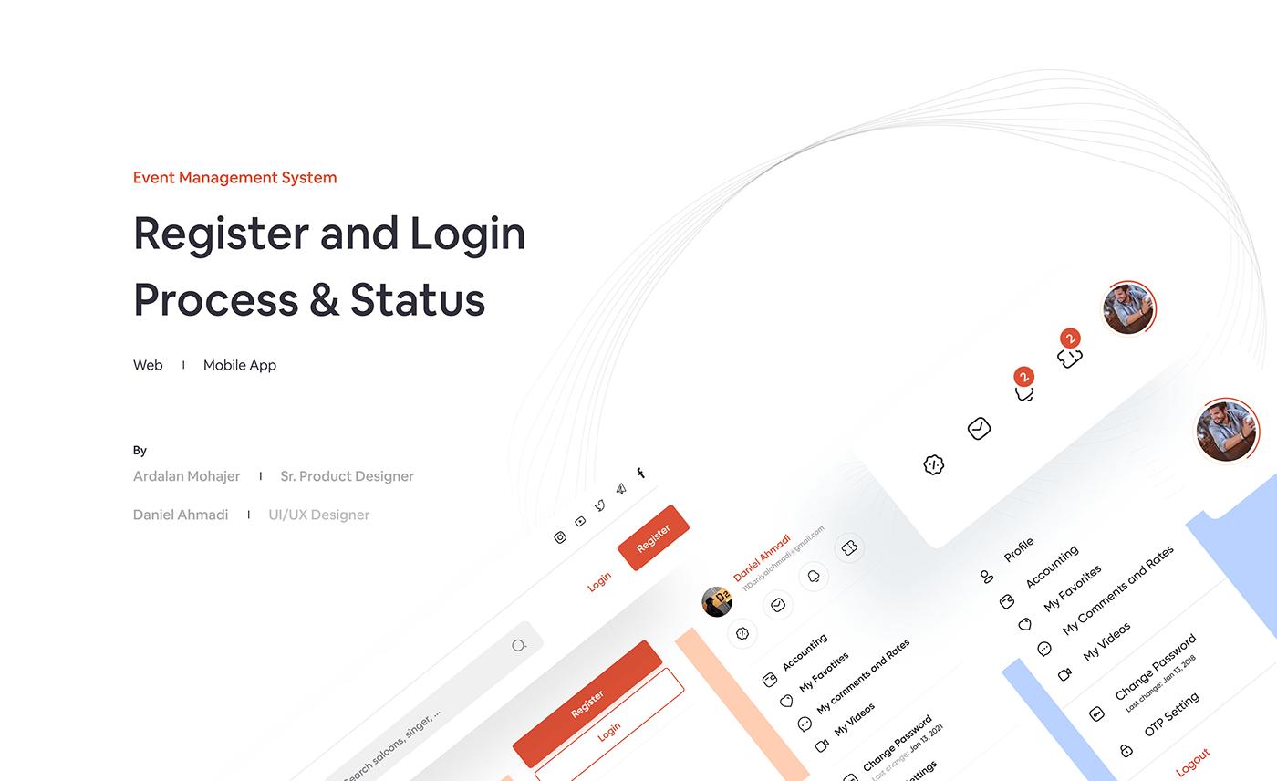 design Event login management process register system ticket ux web app
