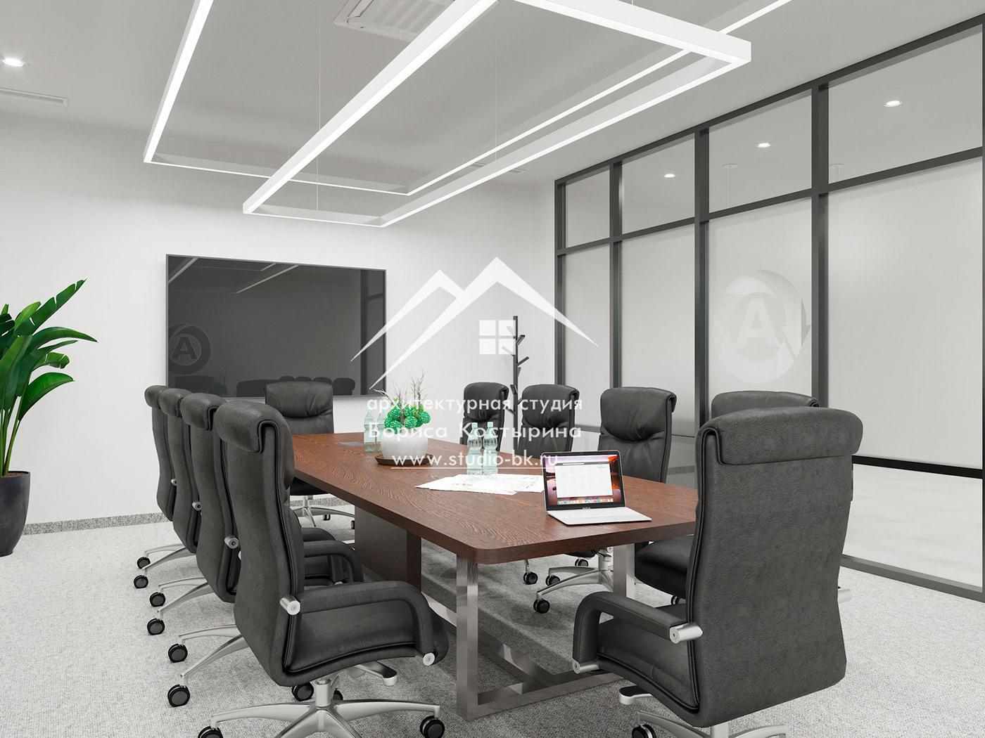 дизайн-проект переговорная переговорная в офисе современный стиль