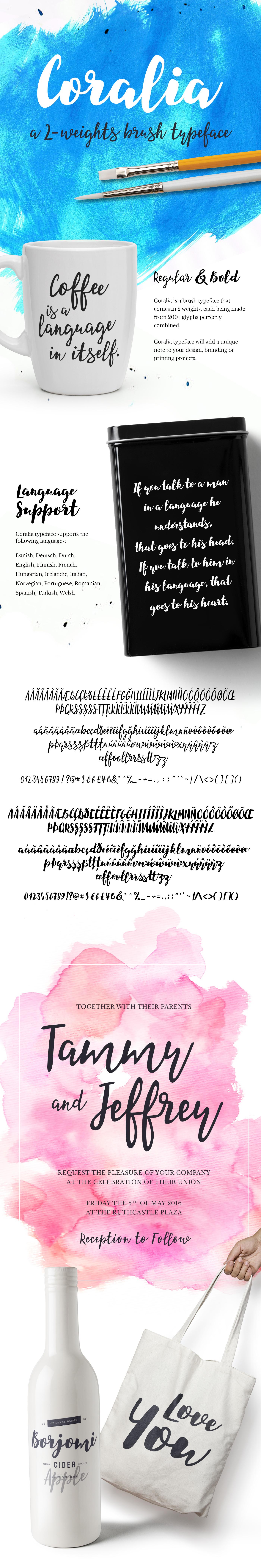 font Typeface Script hand regular bold brush brusher flow watercolor wedding