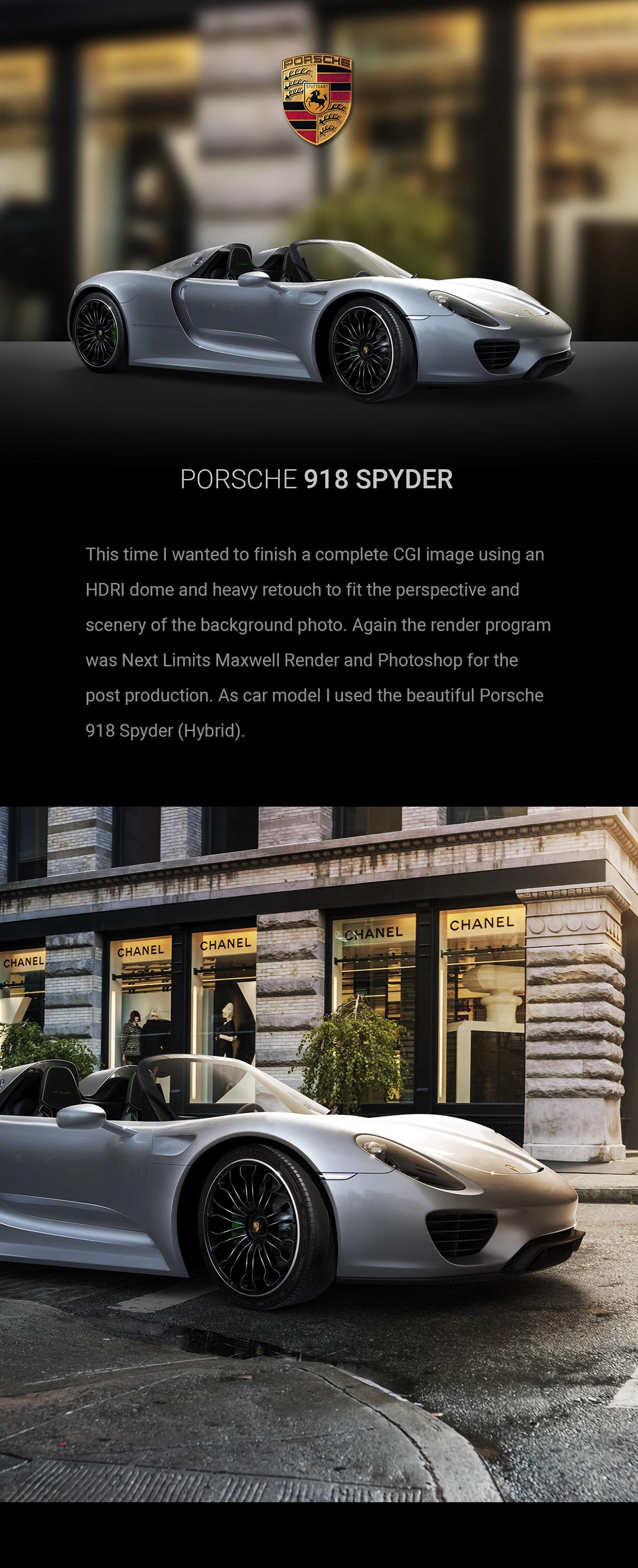 918 spyder  Porsche CGI rendering Maxwell Render