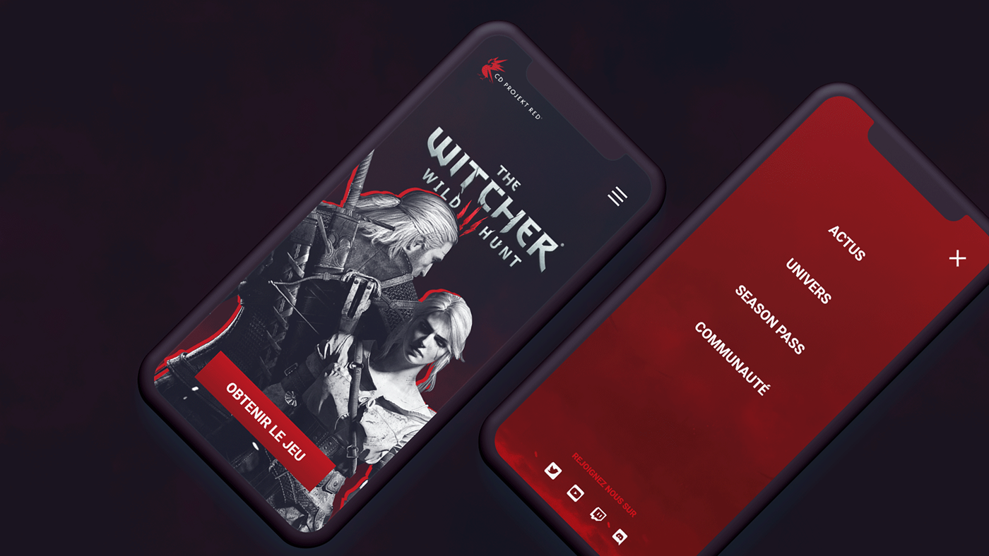 The Witcher III website landing page concept for mobile. Black and white with red highlights