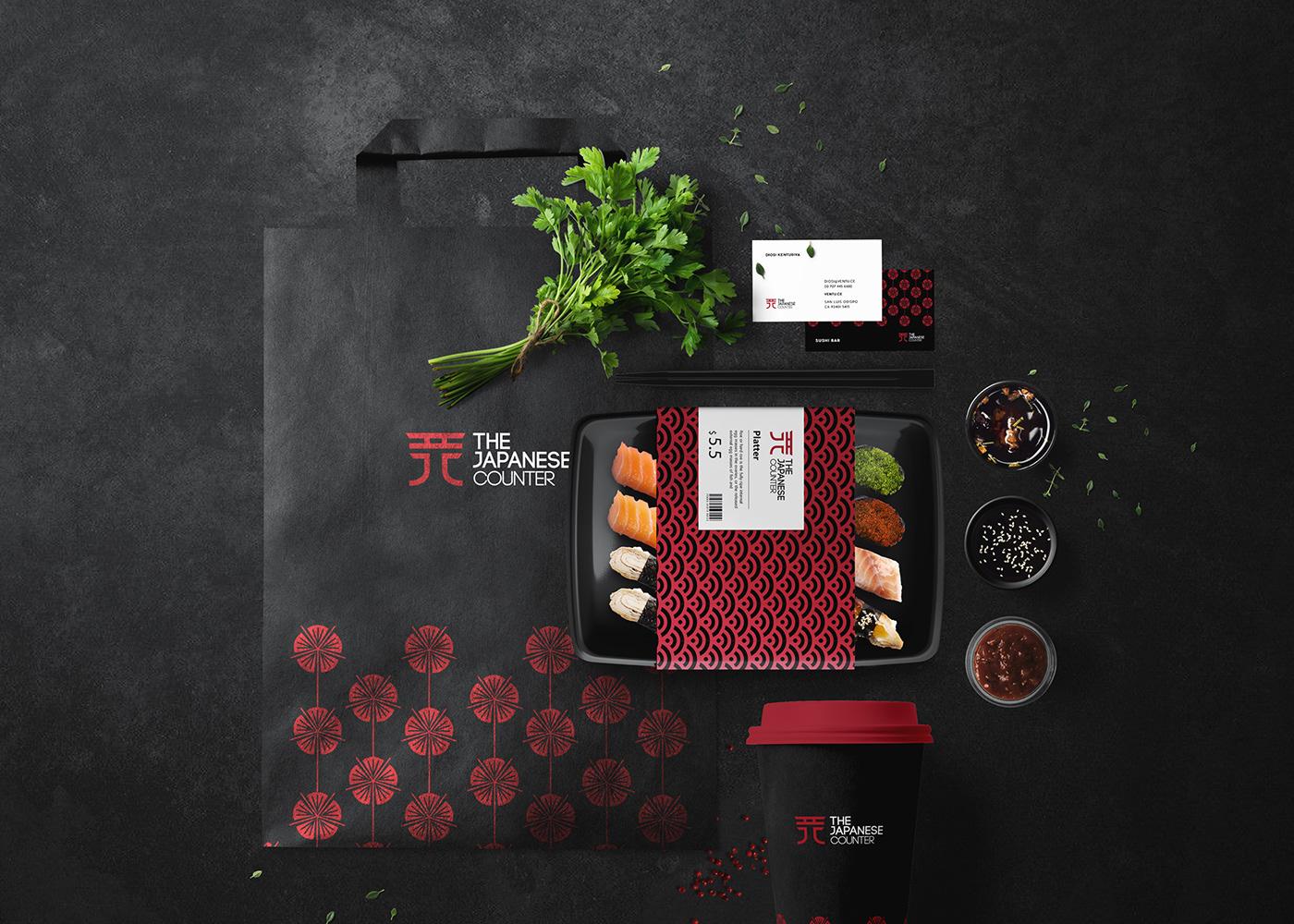 branding  Packaging Sushi Foods restaurant japanese asian Logotype identity logo