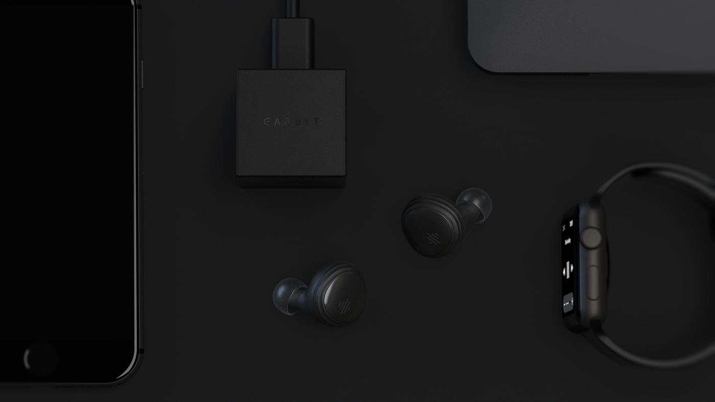 Smart wireless Earbuds alto earbit vinylblack Web industrial design  product design  Startup