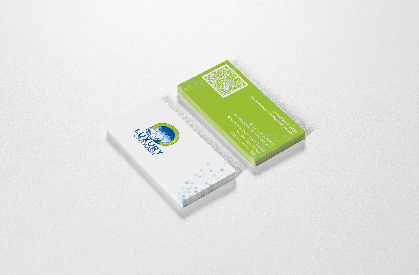 graphic design visiting card luxury car wash Technicals brand dubai