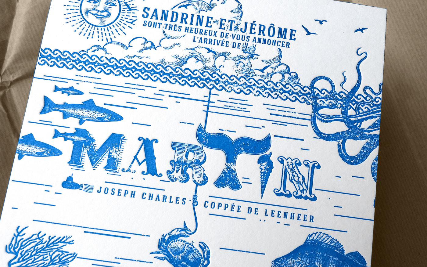 birth announcement letterpress one spot color aquatic faire-part