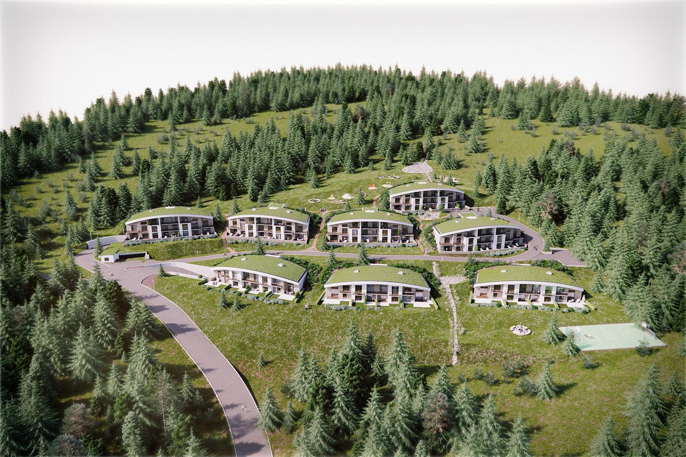 3dmax corona forest house living Nature revit Sauna wood