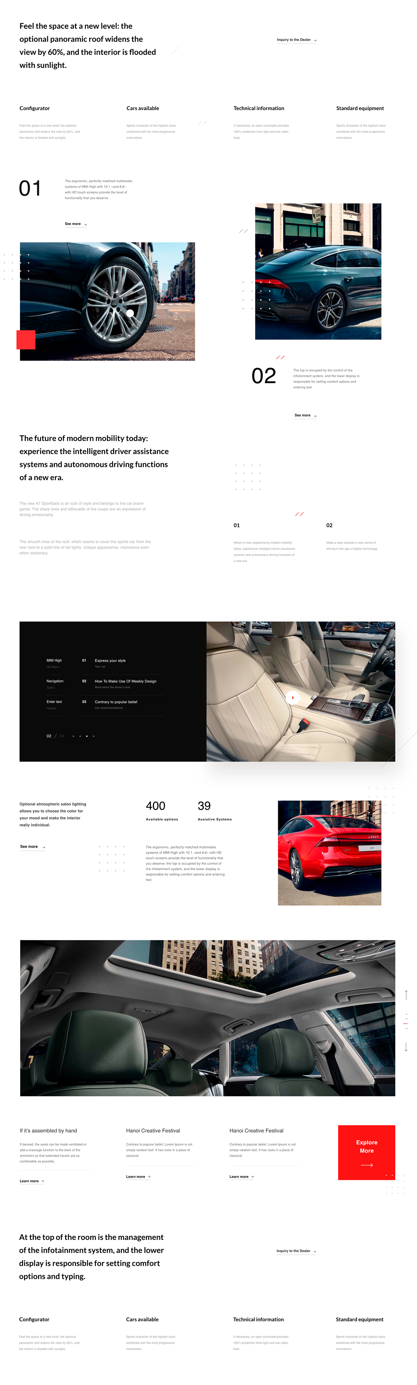 design landing Audi Sportback concept Webdesign Website Luxure minimalistic
