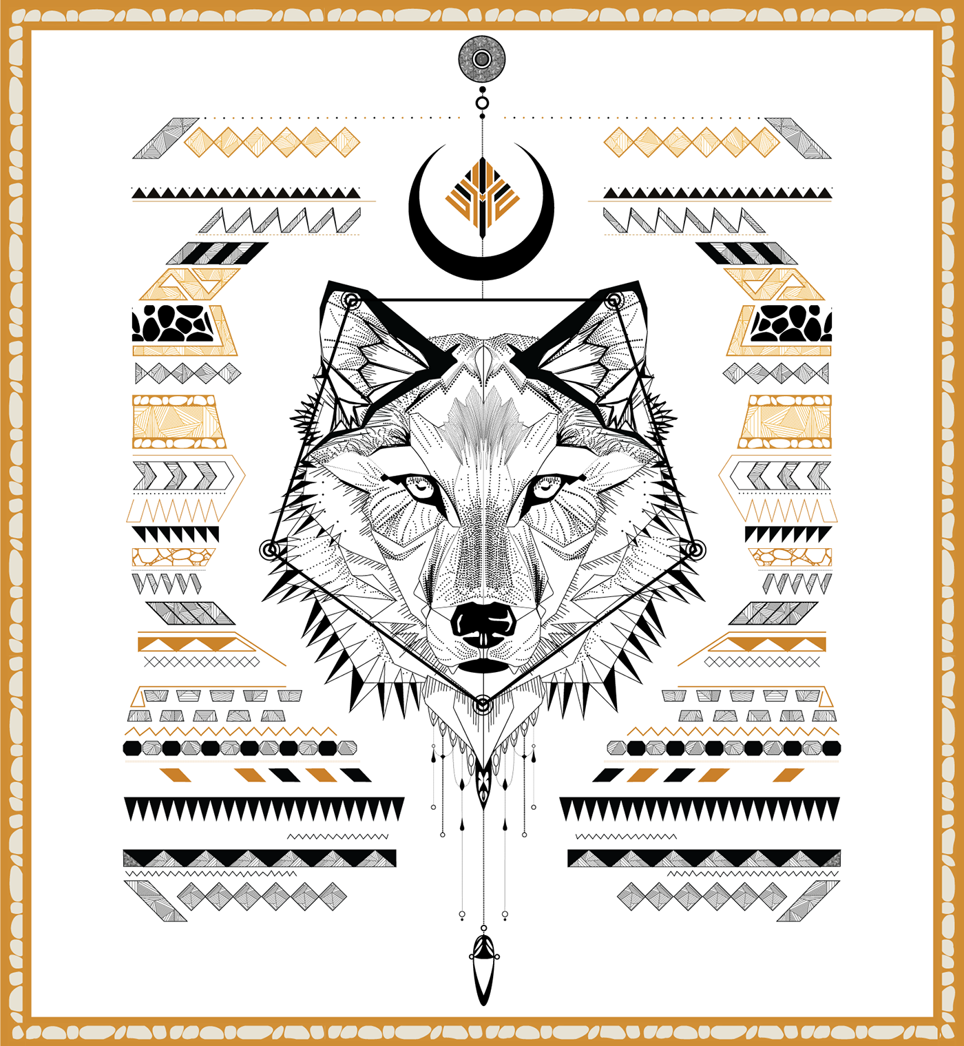 Aztec Low Poly Wolf - a tattoo template on Behance