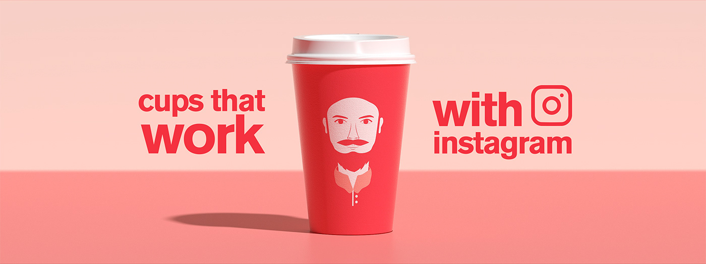 3D cups design filters instagram posters