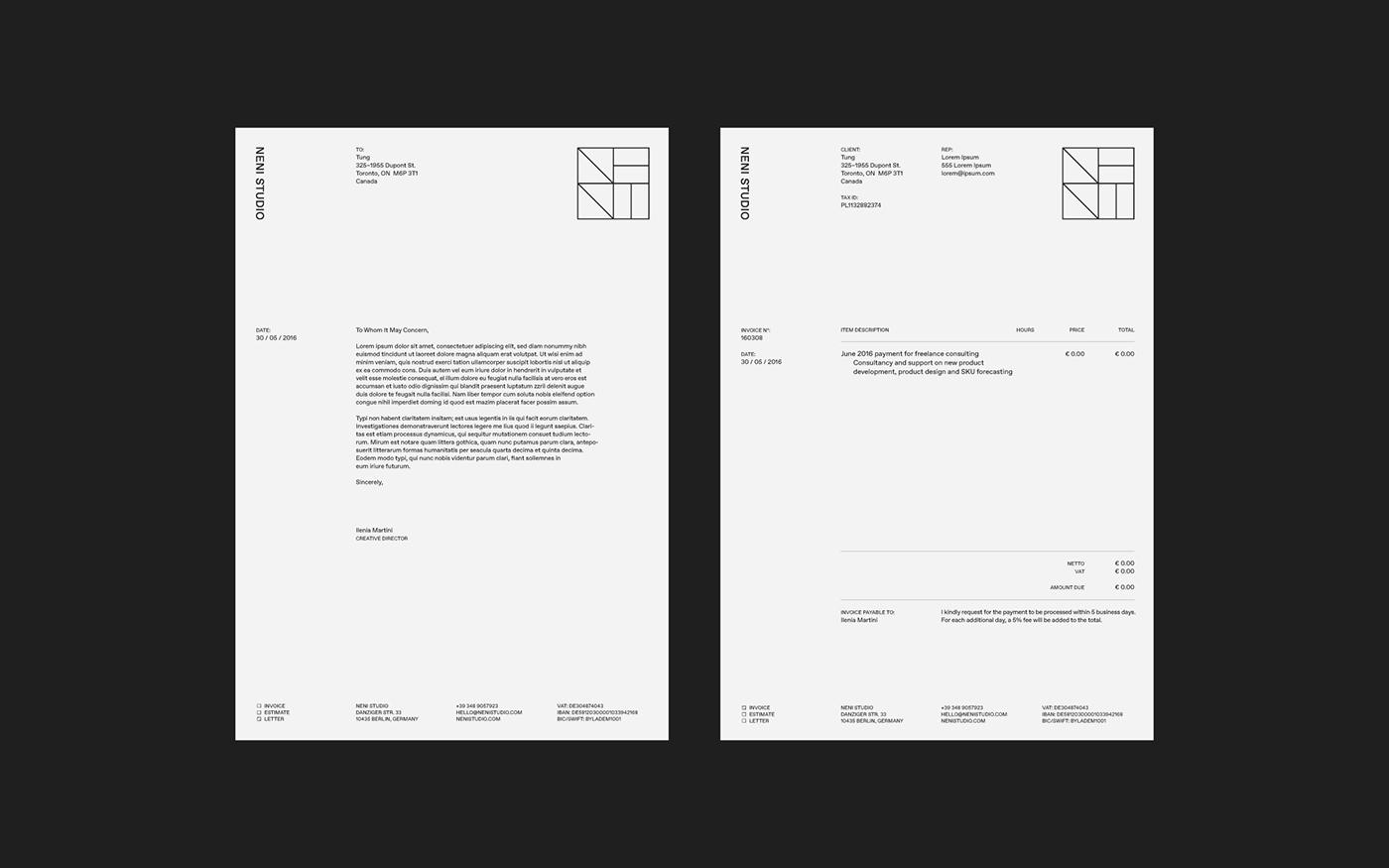 Identity Design interior design  Logo Design geometric neni studio modular