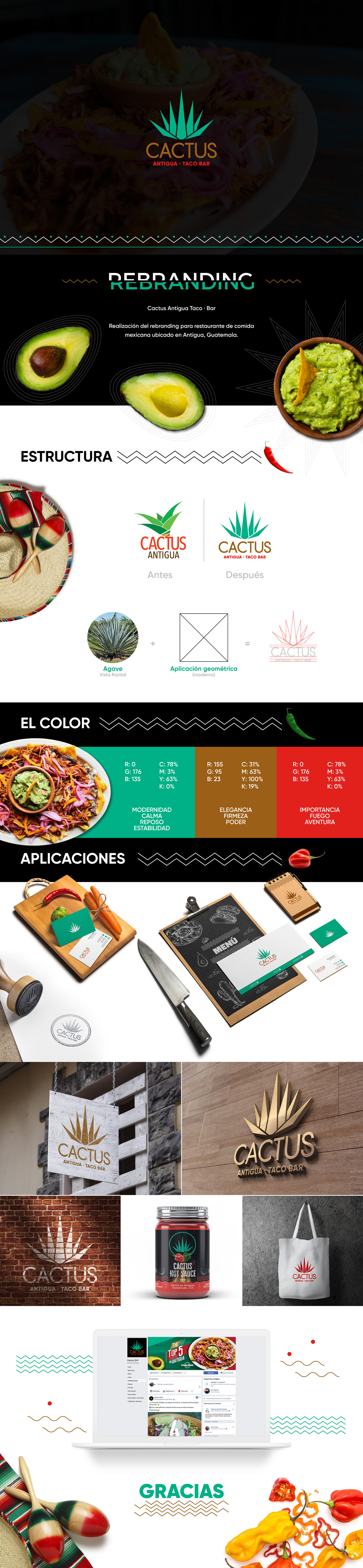 cactus brand marca rebranding restaurant mexico Mexican Food Guatemala Tacos logo food