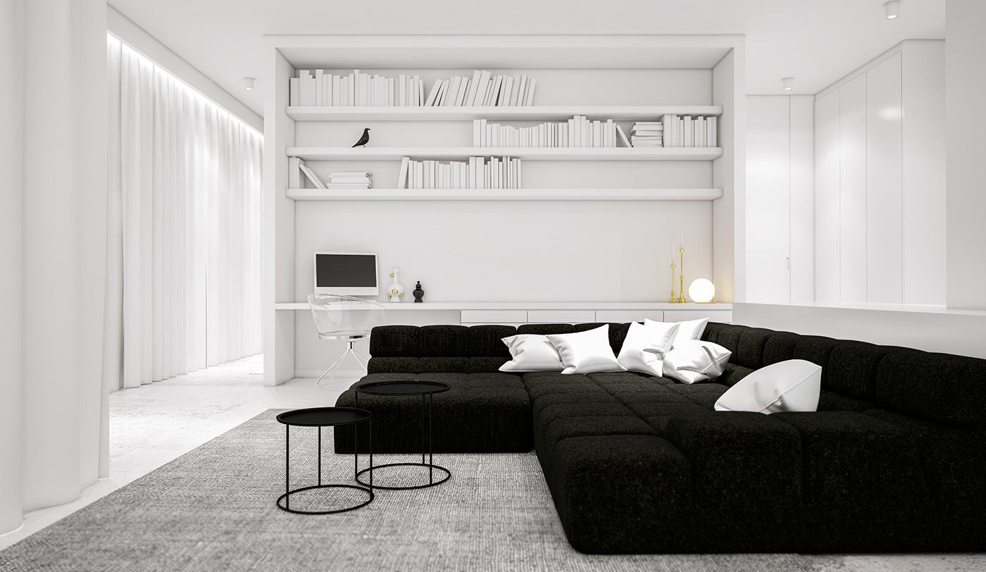 Interior interiordesign living modern Minimalism flat apartment mo.siwinska Wilanów warsaw poland 3D visualizations vray