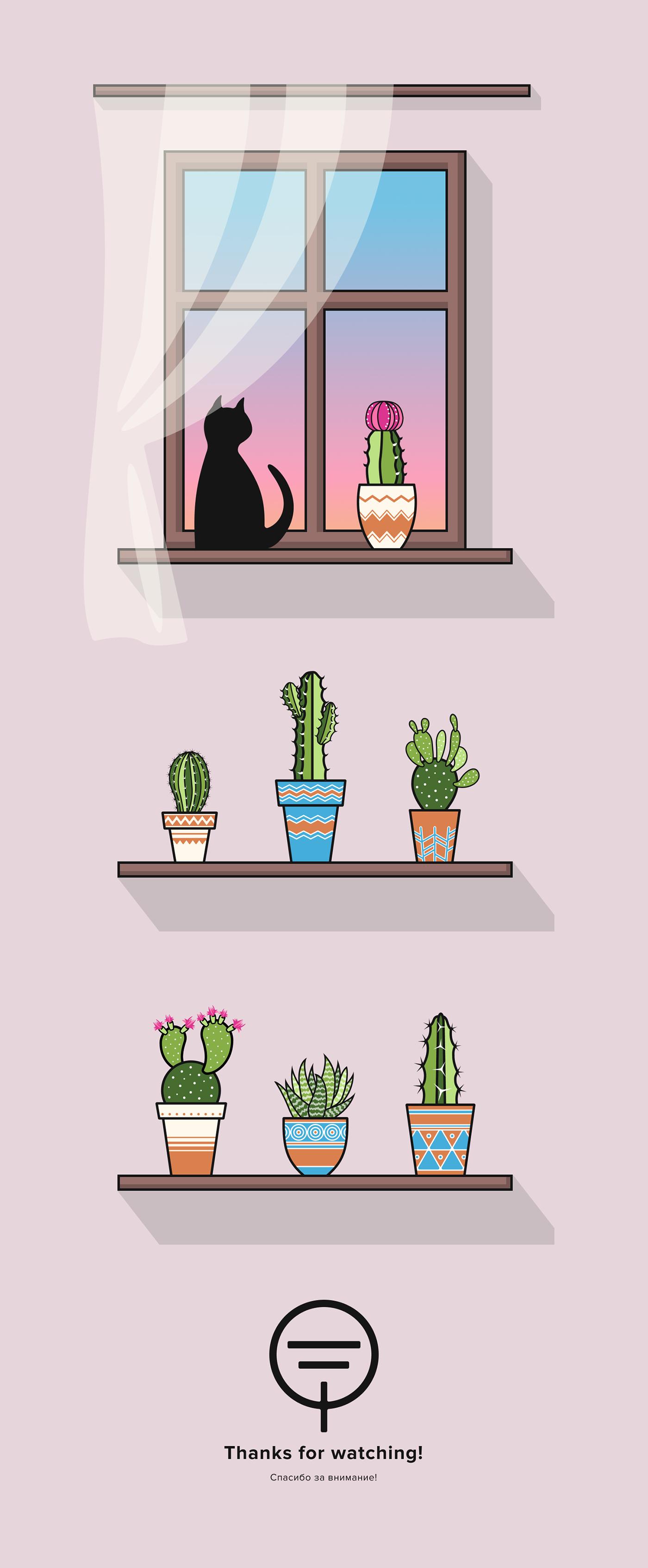 ILLUSTRATION  Illustrator cactus cacti set Picture CG art draw sketch