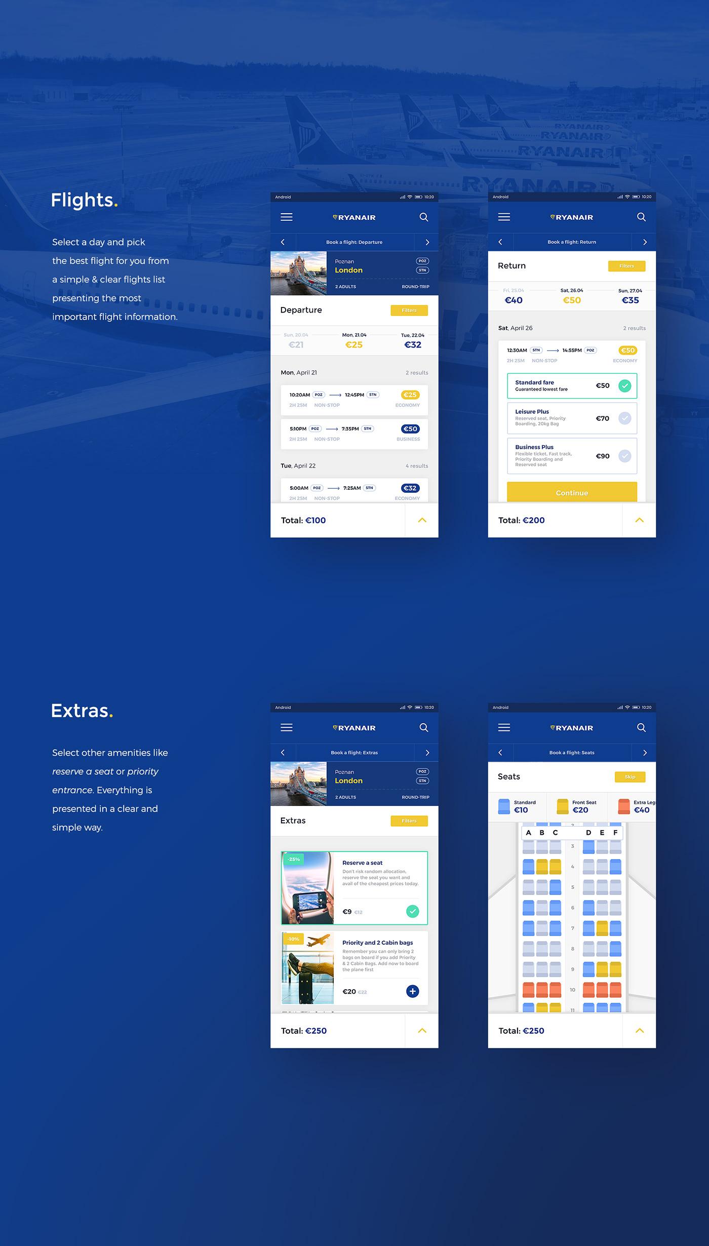 Mobile app,Concept Work,redesign concept,Airline App,Flights,Ryanair,airline,plane,app,itgenerator