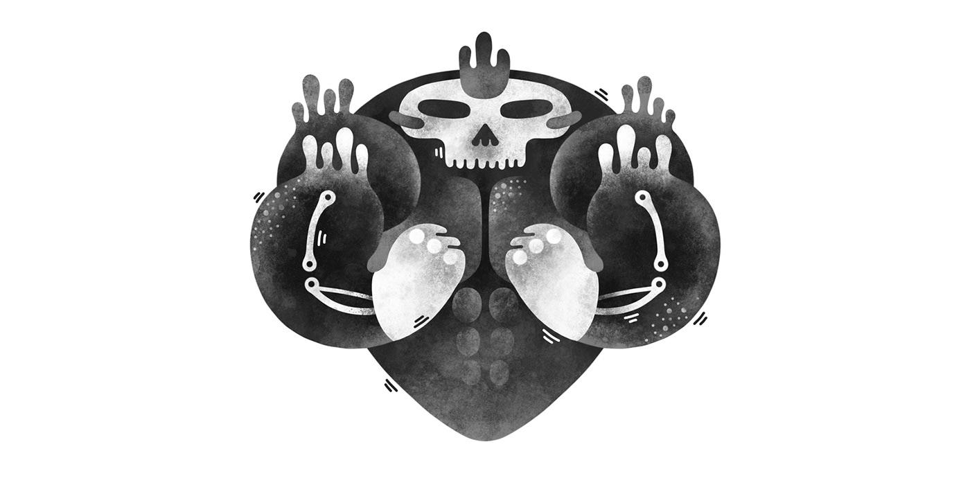 Digital Art  drawing challenge ILLUSTRATION  ink inktober monochrome simmetry surreal