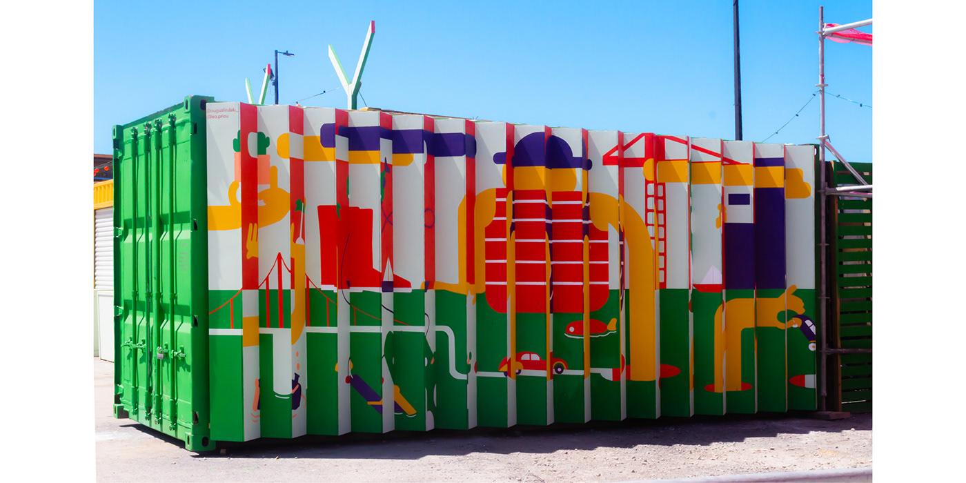 ILLUSTRATION  Graffiti lenticular Mural art painting   Drawing  village Montreal wall