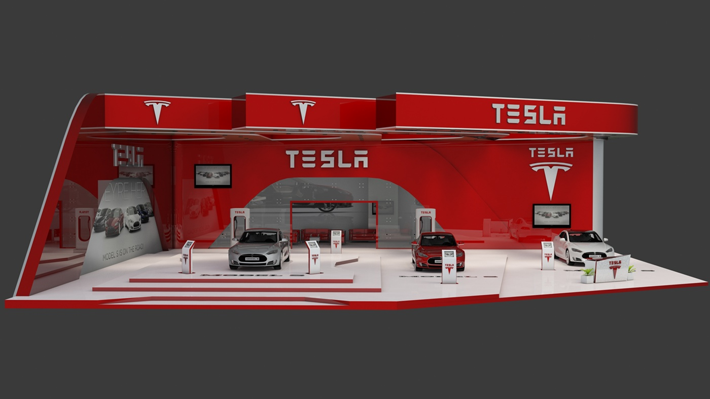 Exhibition Stand Design 3d Max : Tesla s exhibition stand made in d max and vray on behance