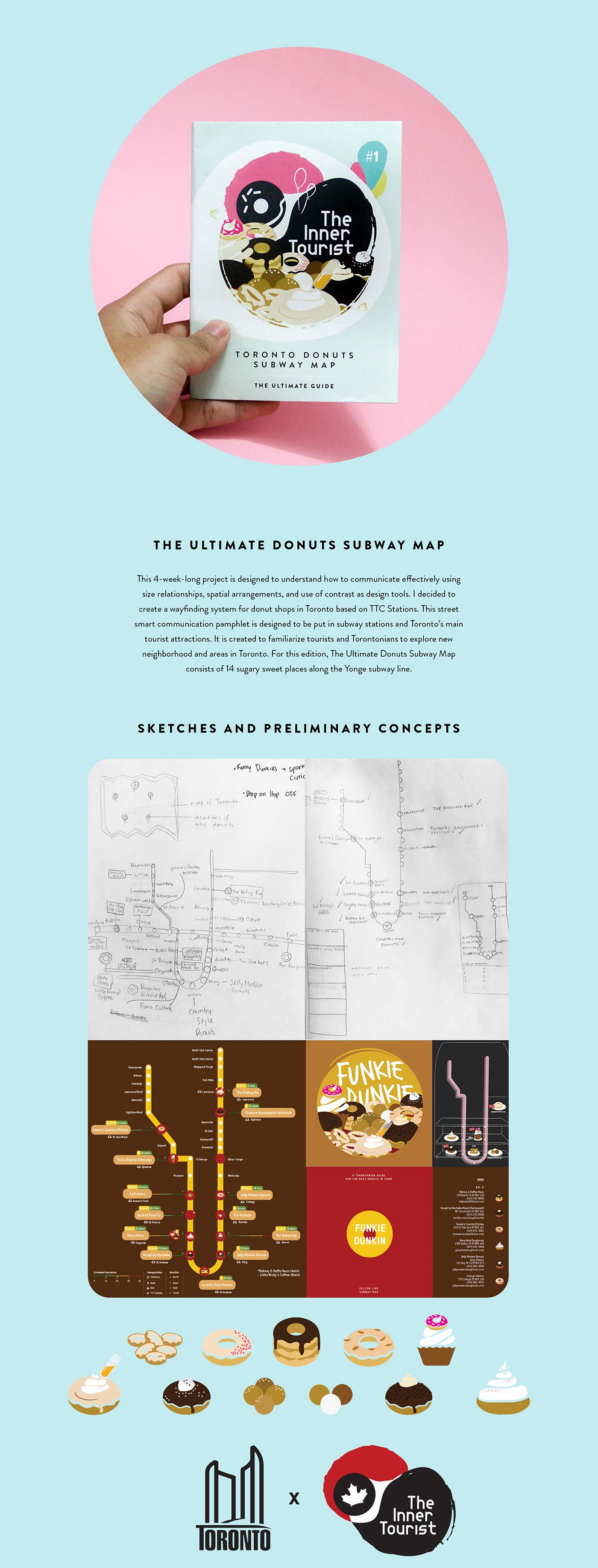 donut subway map information design collage Canada Donuts adobeawards OCADU