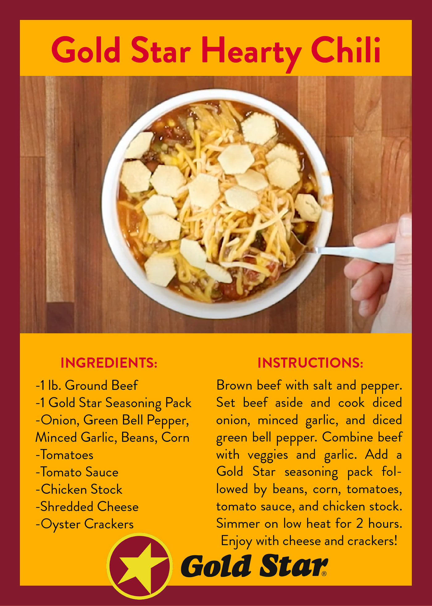 Gold Star Chili Recipe Cards On Behance