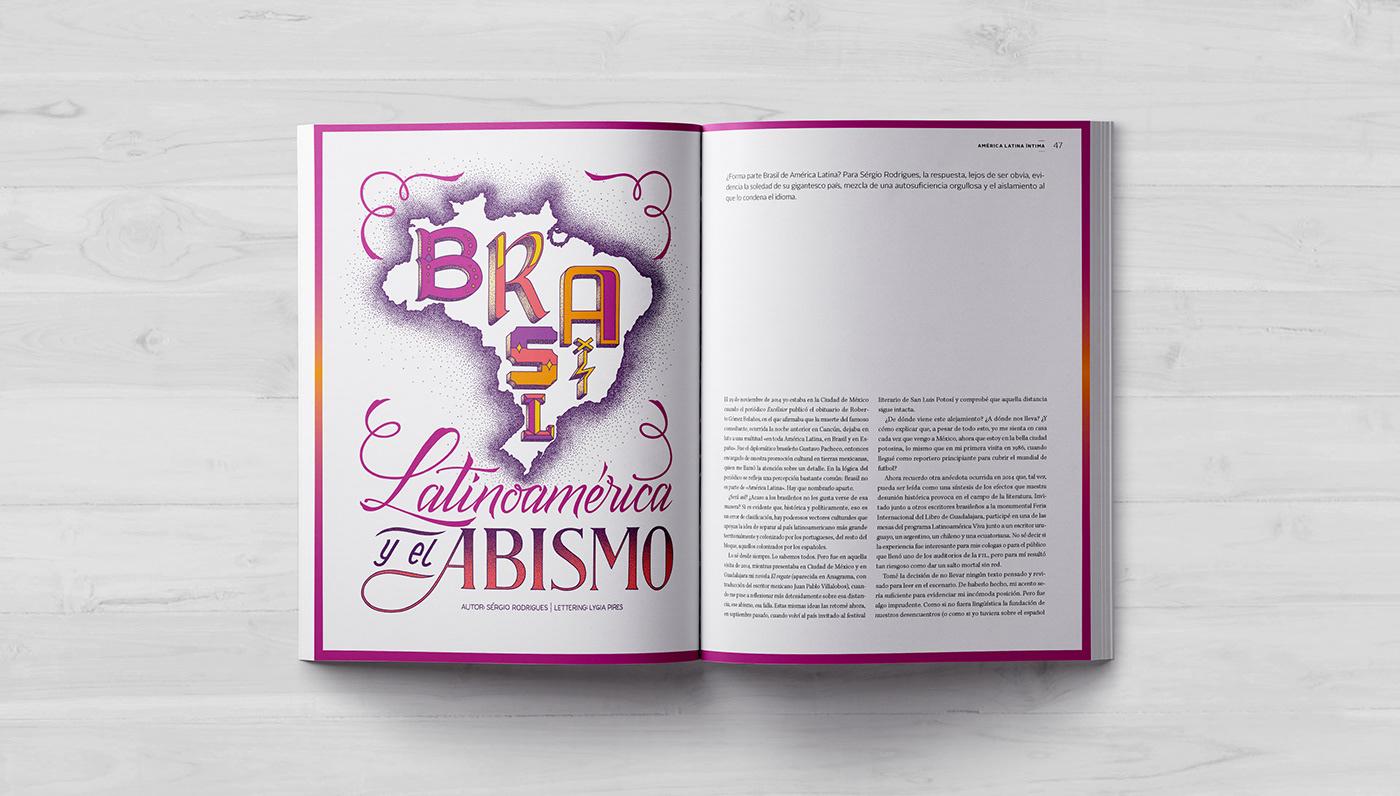 editorial lettering ILLUSTRATION  Brasil magazine letters type HAND LETTERING revista Calligraphy