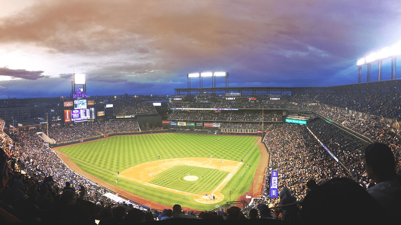 Image may contain: sky, baseball and building