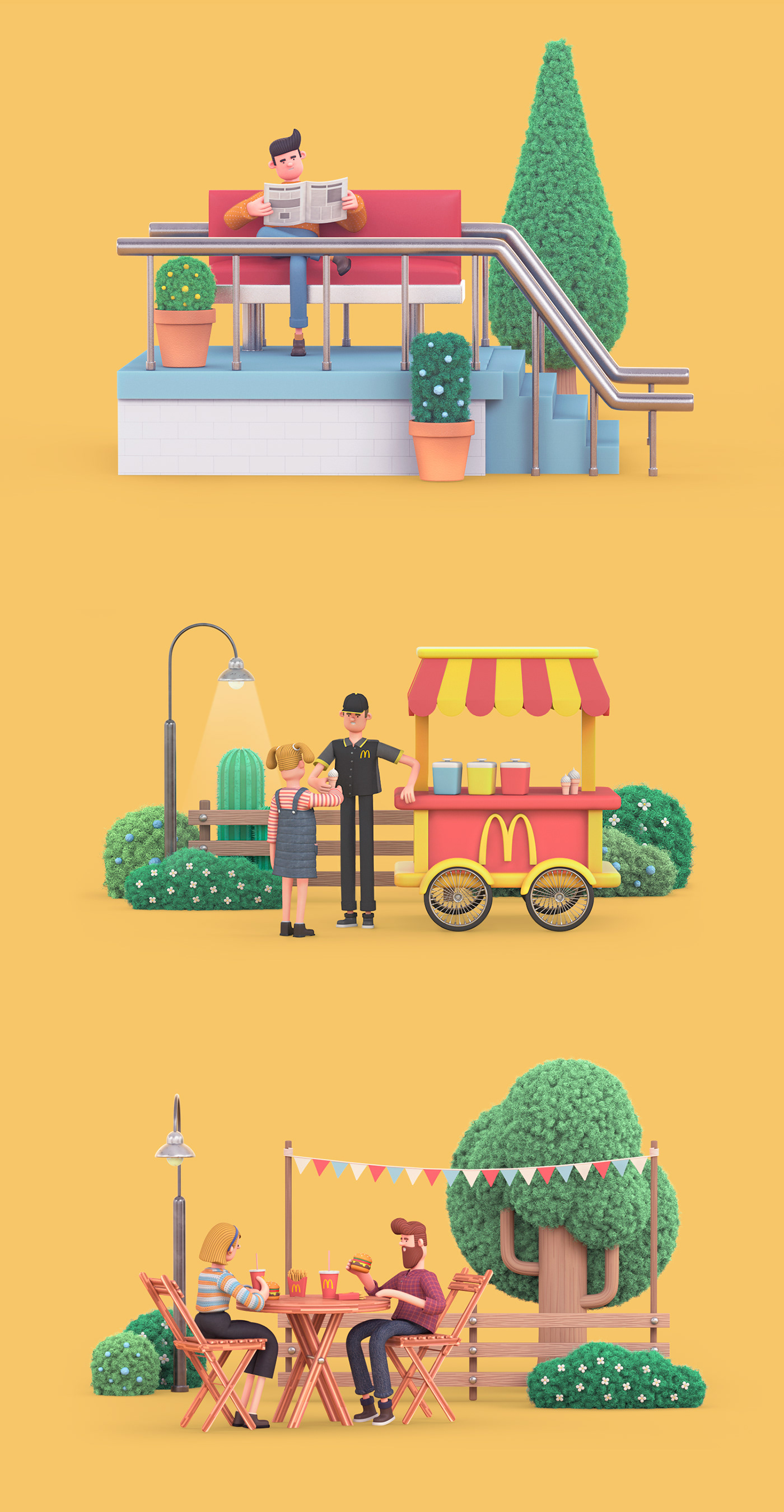 mcdonald's Monopoly app game characters Icon loops intro Low Poly city