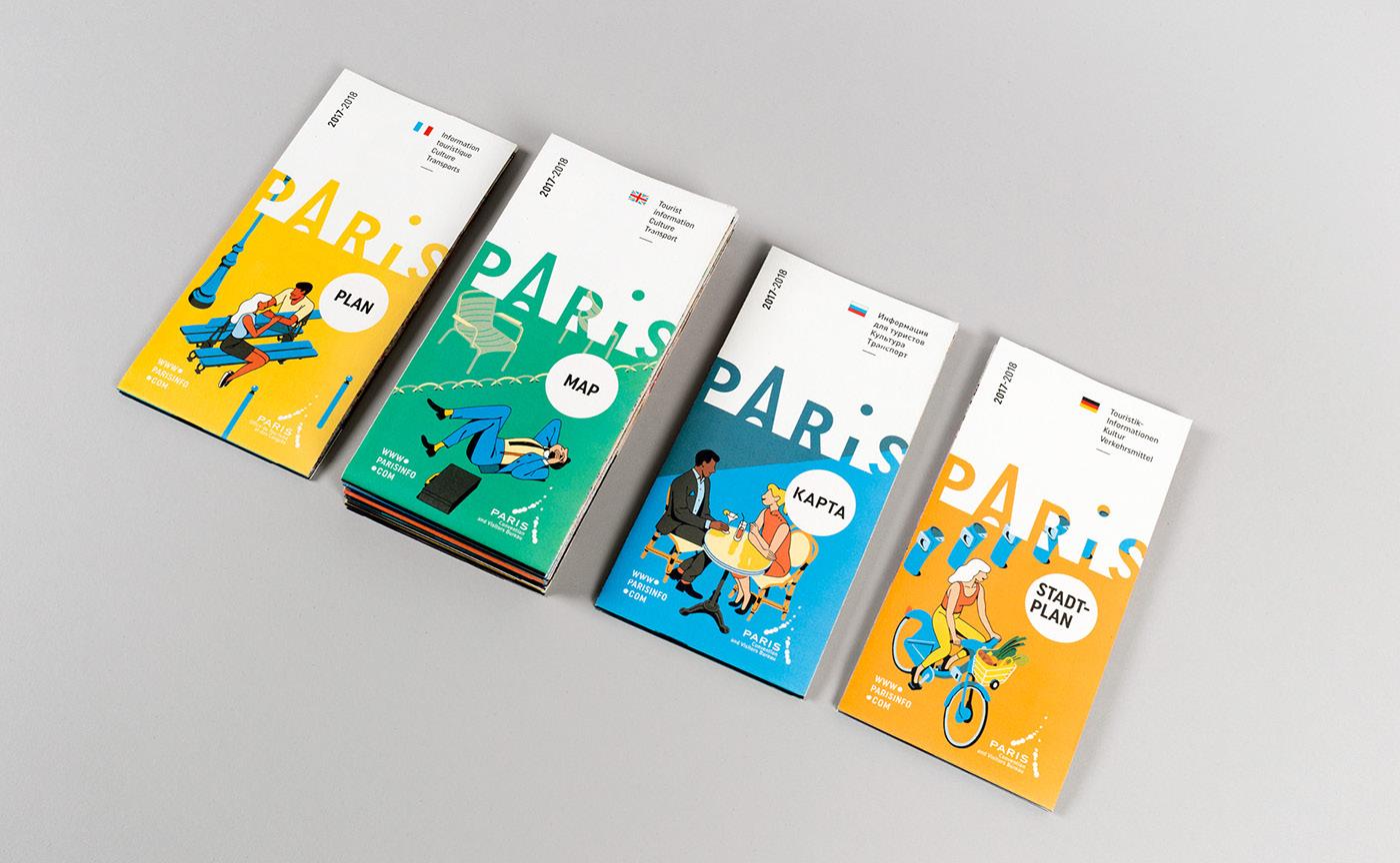 Paris illustrations minimal colorful editorial Editions Layout Tourisme tourism
