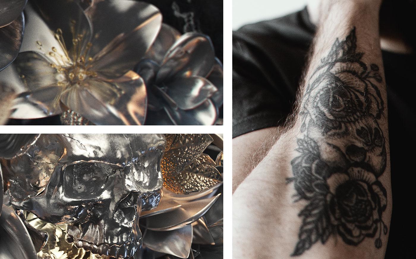3D cinema4d death flower Marble Plant Render silver skeleton skull