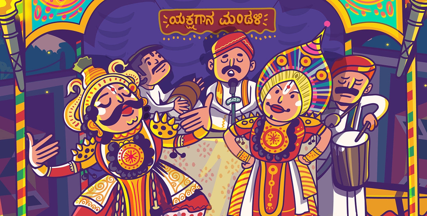folk ILLUSTRATION  India karnataka Performance satishgangaiah   streetart Theatre vector yakshagana