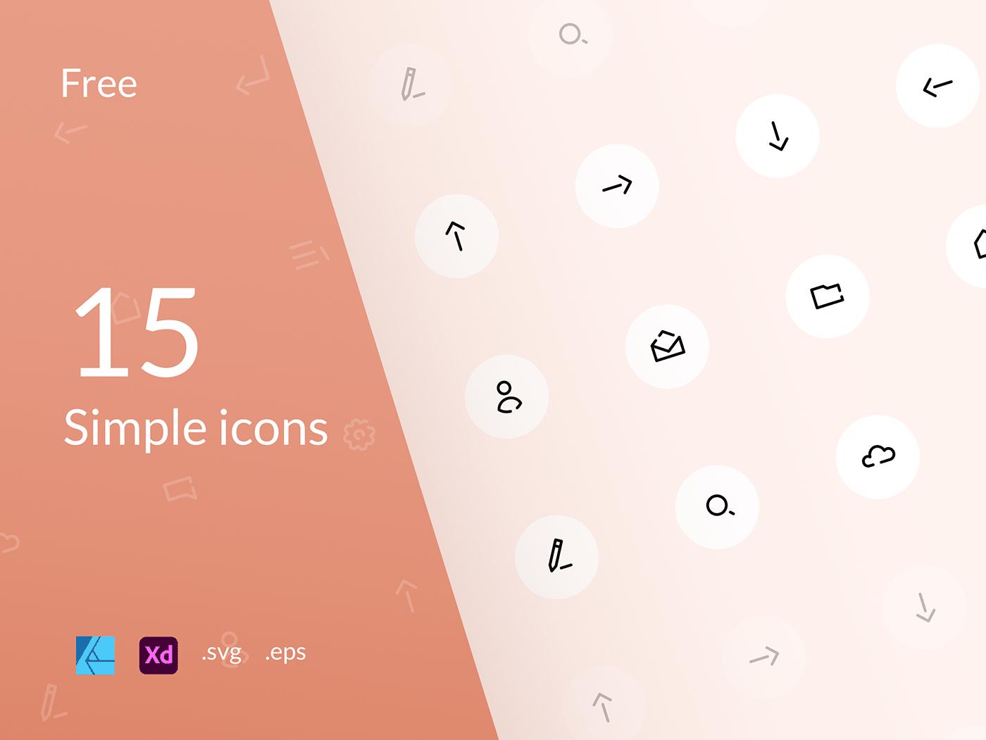 clean design free freebie icon set icons minimal UI vector