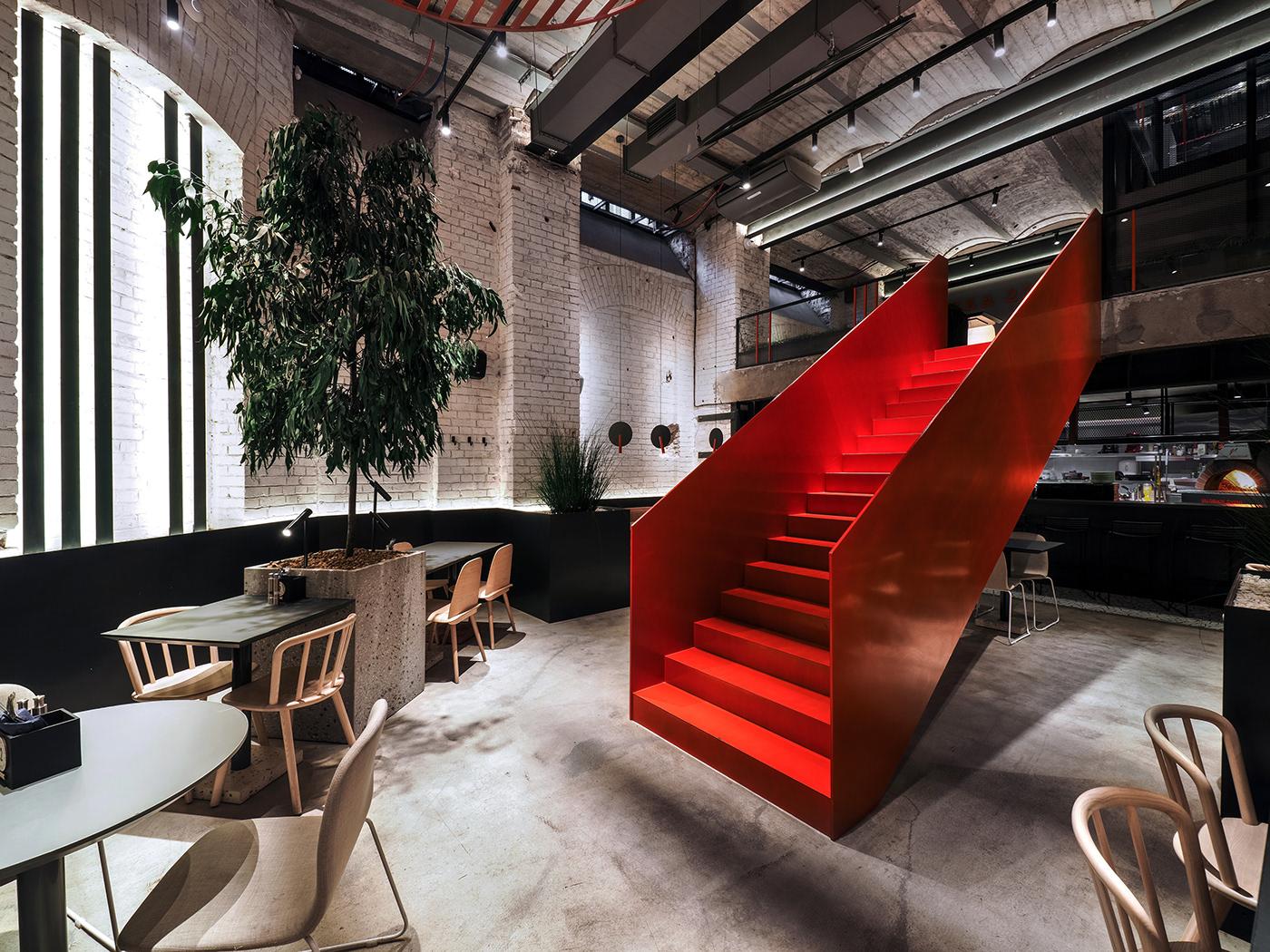 metal concrete modern architecture interior design  red stair Minimalism wood plants