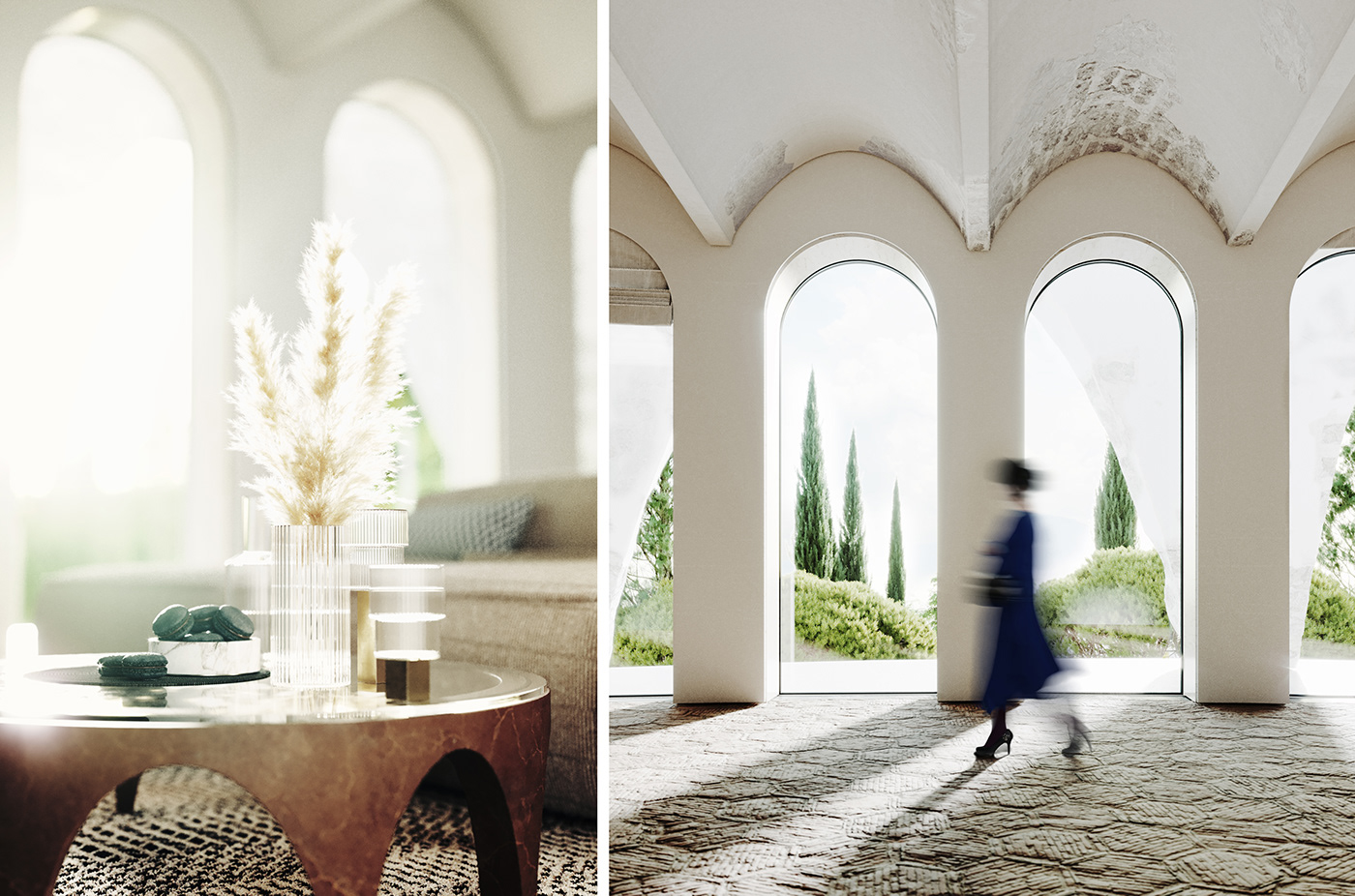 architecture archviz hill house olive Pool refurbishment Villa visualization White