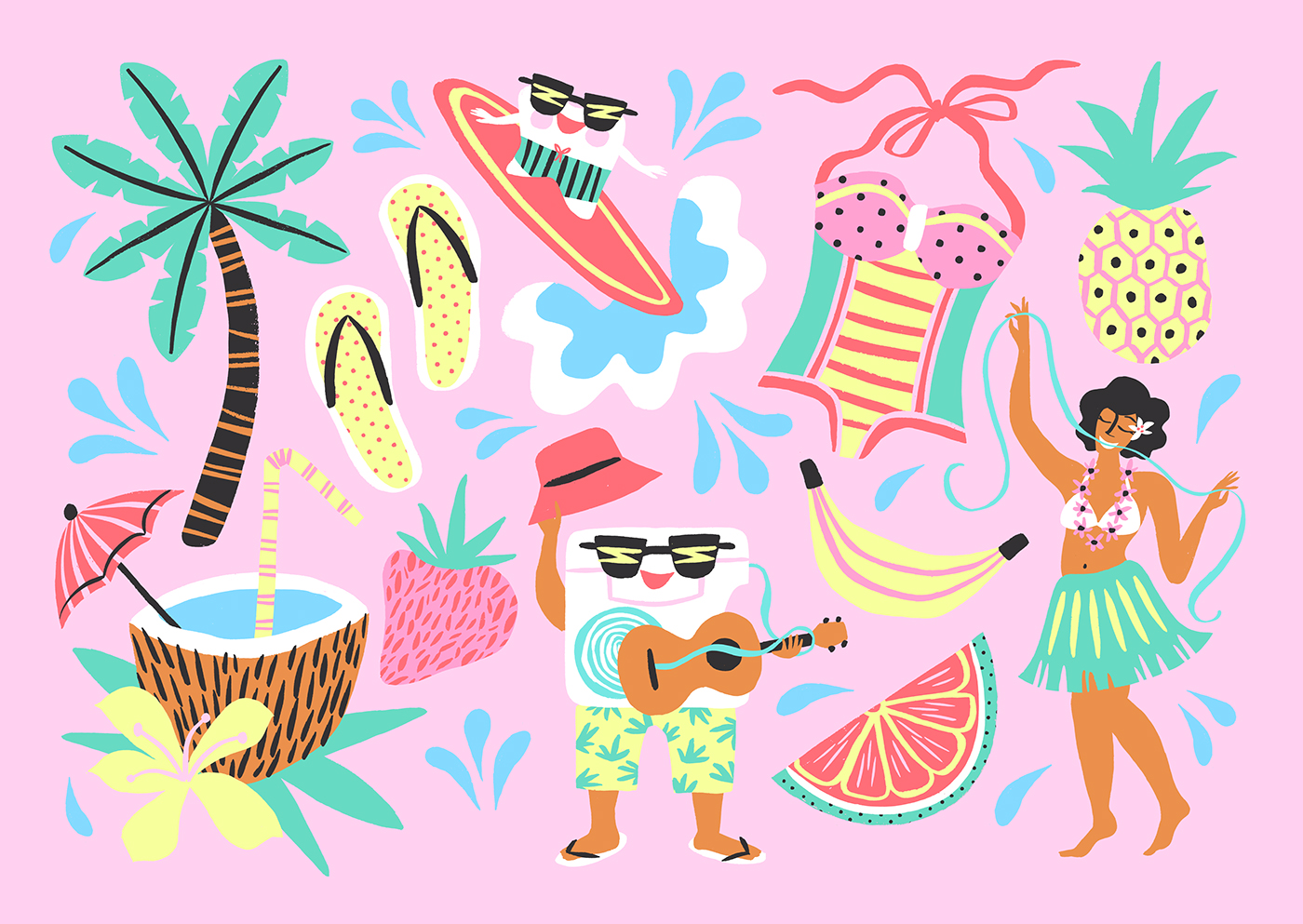 Tropical exotic Palm Trees cocktail pink Hula girl Island HAWAII tooth surfing