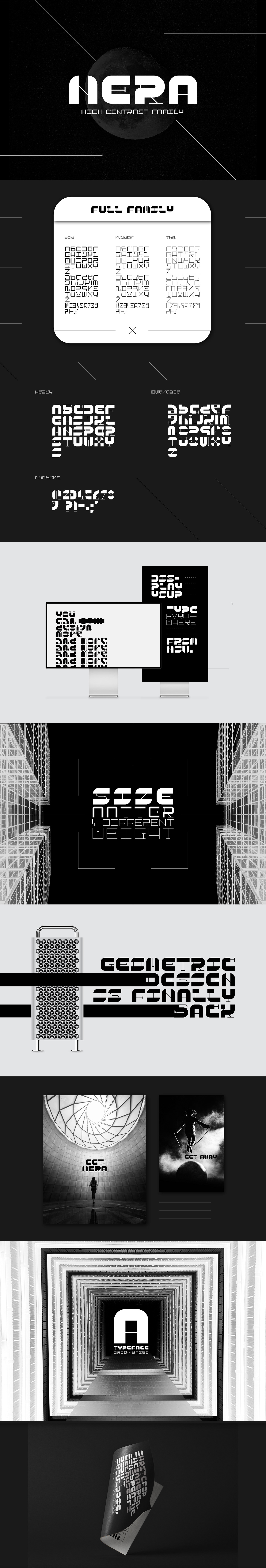 Free Nera Display Font is a unique and geometric high contrast display typeface by Daniele Franchi.