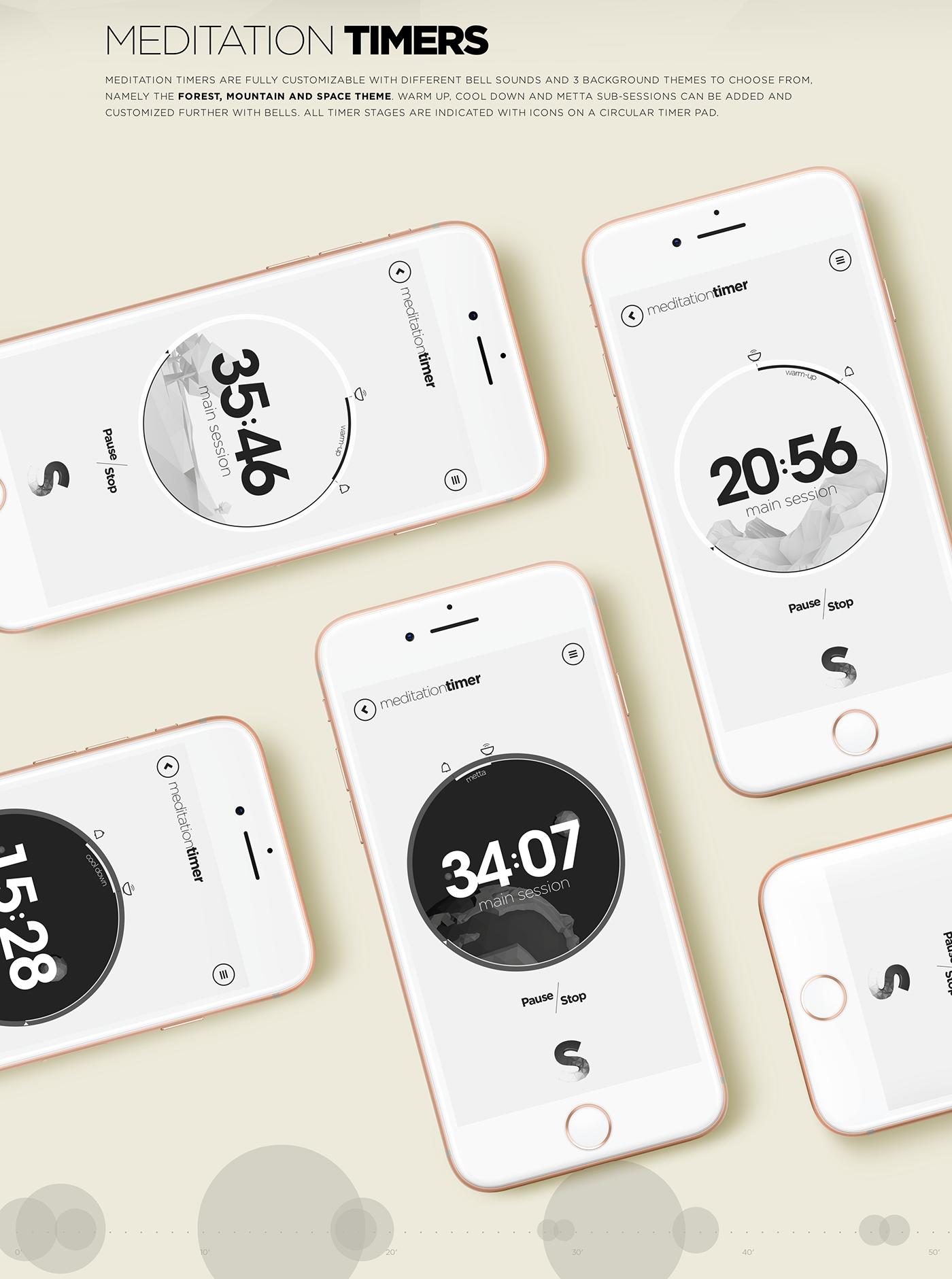 meditation app concept Data visualization brain mind conciousness ios android