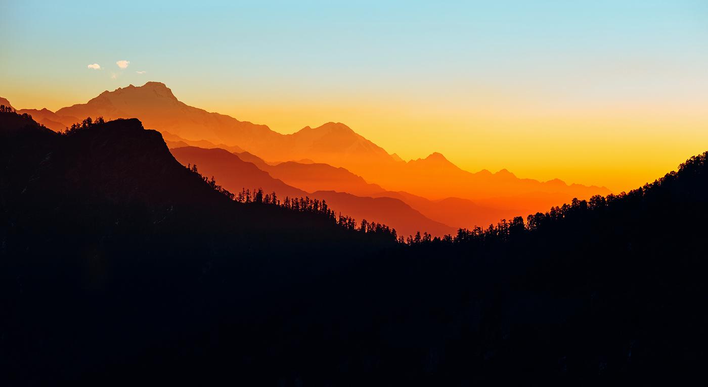 mountain Landscape nepal himalaya Travel colorful Nature Sunrise sunset