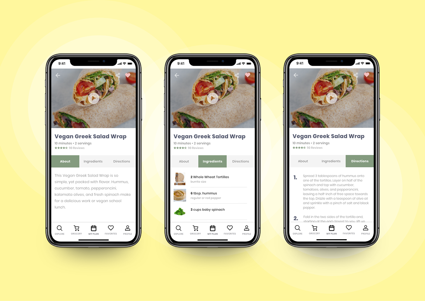 High fidelity iPhone X mockups for the recipe page with 3 tabs of navigation