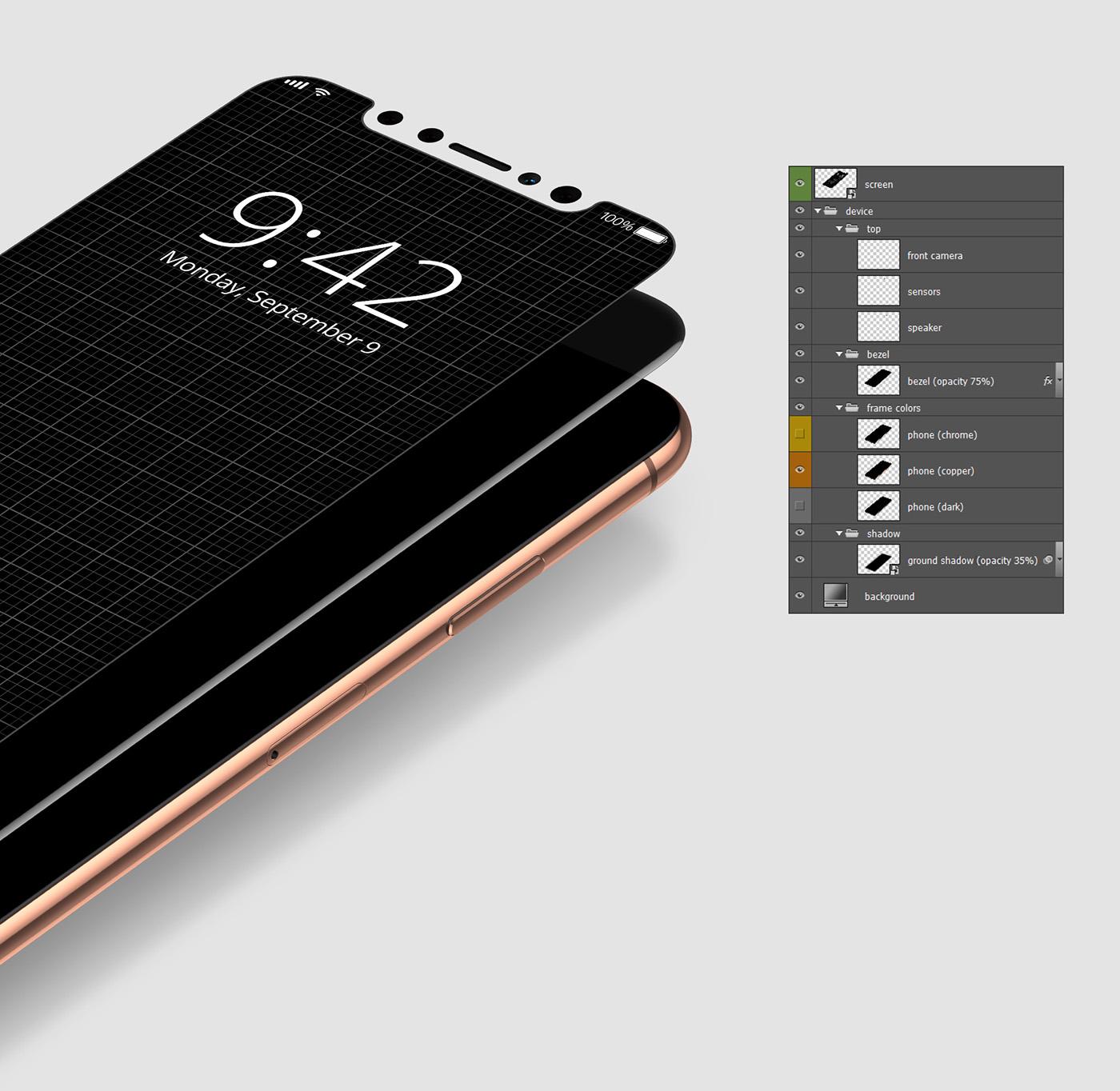 iphonex UI app iOS11 commercial Mockup mock-up smartphone smart object freebie
