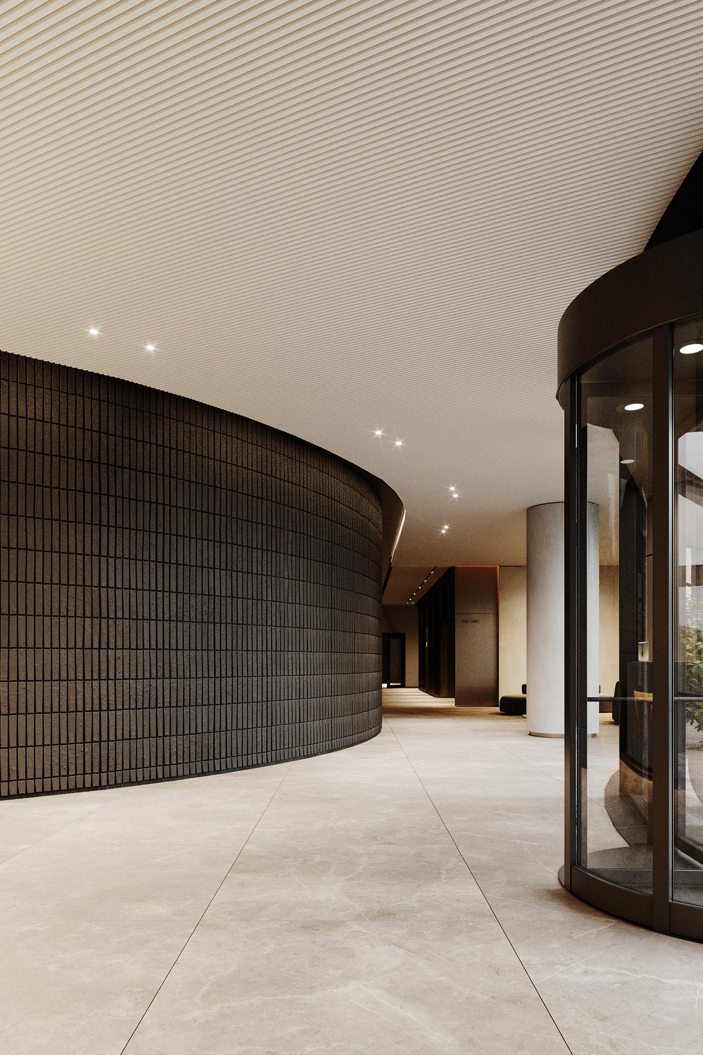 architecture archviz elevator Interior interior design  Lobby Render Residence visualization 3ds max